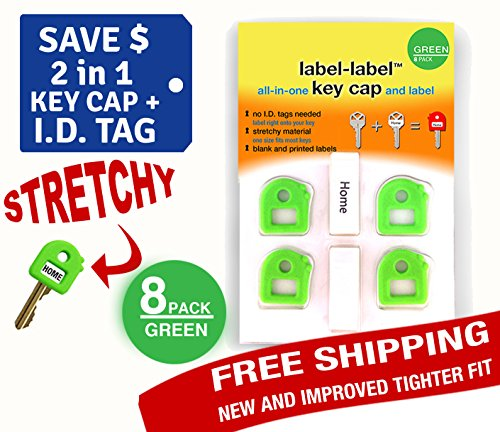 Key Caps Tags - Stretchy All-in-One Key Cover & Tags - ONE SIZE FITS MOST KEYS - Green Pack 8 - Includes Blank Labels and Printed Labels - Key Covers, Name Tags, Identify Tag