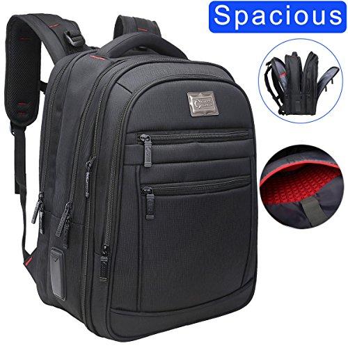 "CrossLandy Extra Large Computer Backpack for 15.6"" Laptop for Men Women Business Travel Backpacks Water Resistant Black"