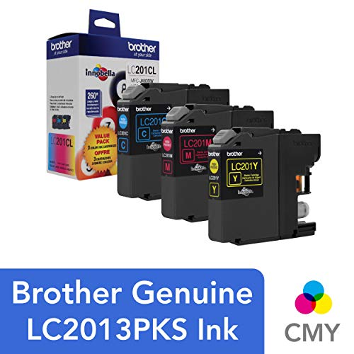 (Brother Genuine Standard Yield Color Ink Cartridges, LC2013PKS, Replacement Color Ink Three Pack, Includes 1 Cartridge Each of Cyan, Magenta & Yellow, Page Yield Up To 260 Pages/cartridge)