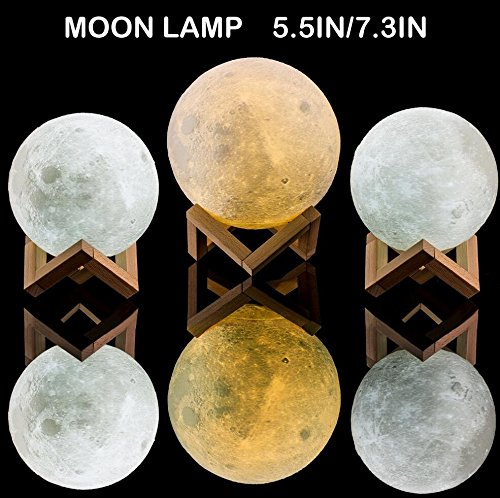 Extra Large!!! GPJOY 3D Moon Lamp Rechargeable Lunar Night Light Dimmable Touch Control Brightness Two Tone Home Decorative Lights Baby Night Light with Wooden Stand, Diameter 7.3 Inch