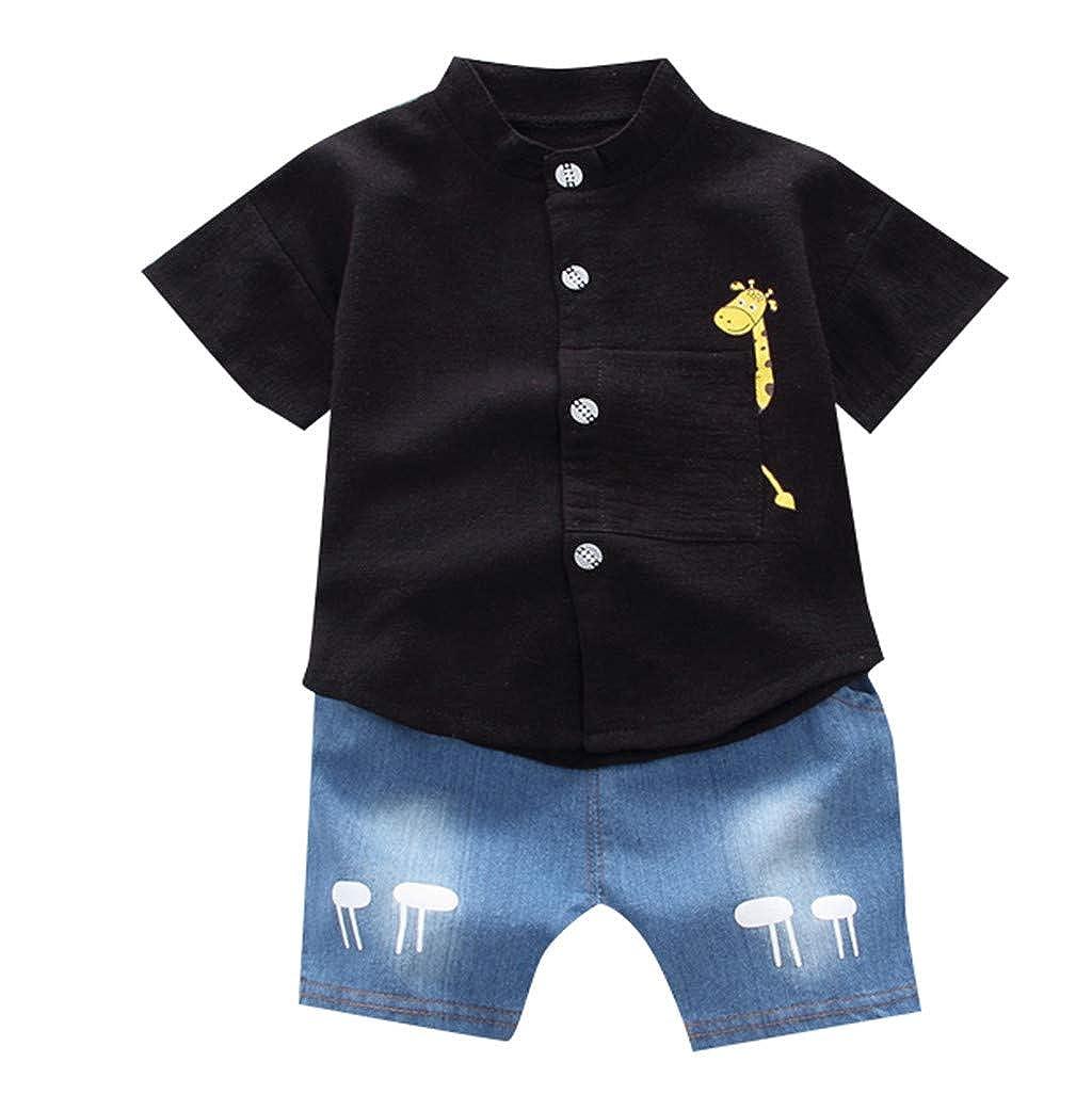 Counjunto de Ropa Bebé Niño 2pc Manga Corta Dibujos Animados Imprimiendo Camiseta Top + Pantalones Cortos Ropa Bebé Niños 0-3 años Holatee