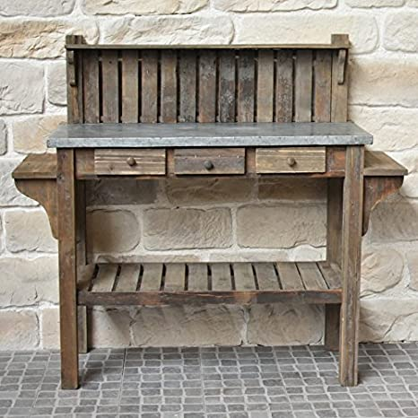 Astounding Antique Style Garden Potting Table Wood Zinc 142 Cm Amazon Ibusinesslaw Wood Chair Design Ideas Ibusinesslaworg