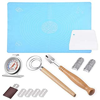 Bread Making Kit – Dough Scraper, Danish Dough Whisk, Oven Thermometer, Bread Lame, Pastry Mat, Finger Sleeves, Necessary Kitchen Utensils