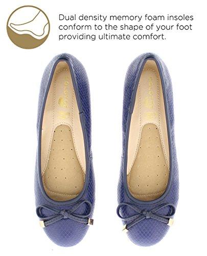 Gold Toe Damen Malorie Dual Density Memory Foam Komfort Ballett flach mit Bogen Marine