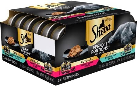 Sheba Perfect Portions Cuts in Gravy Multipack Salmon Tuna Wet Cat Food 2.6 oz.