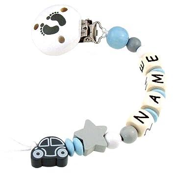 tolles Geschenk zur Taufe oder Geburt grau dunkelgrau Greifring hellblau Greifring mit Namen Junge 3-8 Buchstaben Auto Stern wei/ß