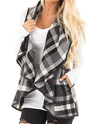 (CXINS Womens Fashion Lapel Open Front Sleeveless Plaid Vest Cardigan Coat with Pocket Size XL Black and White)