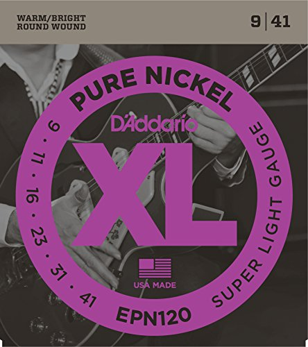 D'Addario EPN120 Pure Nickel Electric Guitar Strings, Super