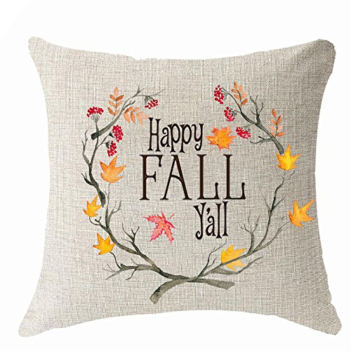 Happy Harvest - Happy fall y'all watercolor wreath red food harvest animal birds Throw Pillow Cover Cushion Case Cotton Linen Material Decorative 18
