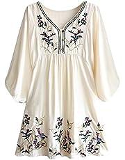 FUTURINO Damen Sommerkleid Bohemian Stickerei Floral Tunika Shirt Bluse Flowy Minikleid