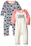 Touched by Nature Baby Organic Cotton Union Suit 2-Pack, Hedgehog, 9-12 Months