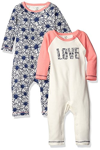 Touched by Nature Baby Organic Cotton Union Suit, 2 Pack, Daisy, 9-12 Months (2 Pack Daisy)