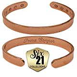 Polished Magnetic Copper Bracelet for Arthritis Relief - Pure Copper, 8 Magnets, Adjustable Bangle - For Men and Women (10mm)