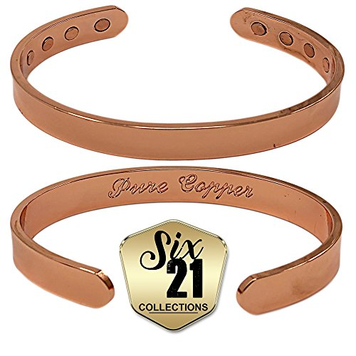 Polished Magnetic Copper Bracelet for Arthritis Relief - Pure Copper, 8 Magnets, Adjustable Bangle - For Men and Women (10mm) ()