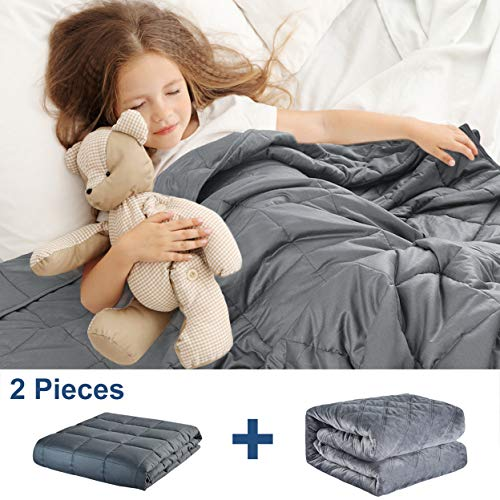 Cheap Weighted Blanket for Kids (10 lbs 41 x60 ) Weighted Blanket with Removable Cover Heavy Blanket with 100% Breathable Cotton and Glass Beads Gray Black Friday & Cyber Monday 2019
