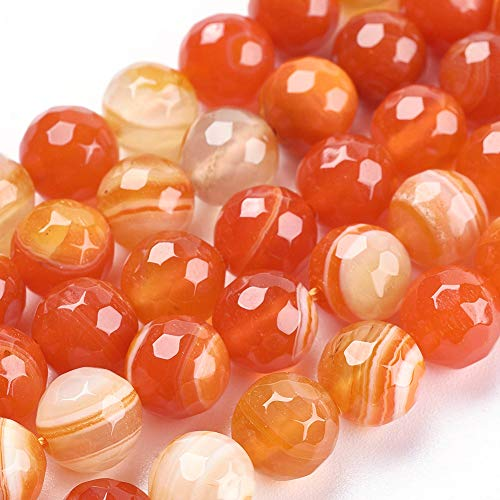 m Natural Faceted Striped Agate Gemstone Round Beads 14.8