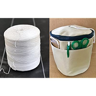 BlueFire Bundle: 6300 ft Polypropylene Tomato Twine + Reusable Twine Dispenser Bag for Garden Twine String (1 Roll Twine + 1 Tan Twine Bag) : Garden & Outdoor