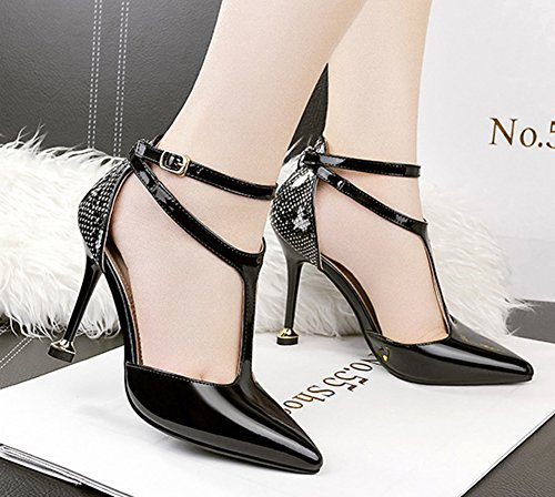 With Aisun Court Stilettos Women's Pointed Black Toe T Office Buckle strap Shoes TnY0zrqT4