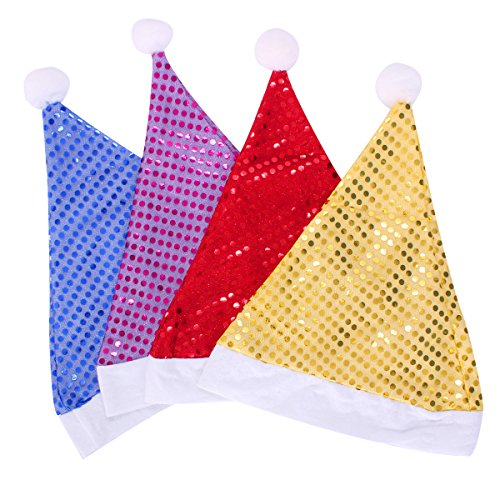 [Super Marts Sequin-Sheen Santa Hat Sequins Christmas hats Red/Yellow/Purple/Blue (4PC)] (Glitter Beard Costume)