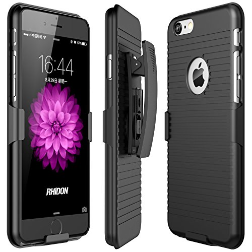 iPhone 6 Case, Rhidon Case Combo Super Slim Hard Shell Layer Holster Open-Face Sport Case with Holster Kickstand and Locking Belt Swivel Clip for Apple iPhone 6/6S (black)