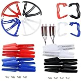 NICEKER Upgraded 4 Colors Syma X5 X5C X5C-1 Spare Parts Main Blade Propellers & Motor & Propeller Protectors Blades Frame & Landing Skid Included Mounting Screws for RC Mini Quadcopter Toy