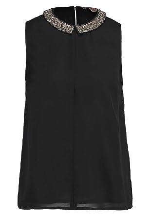 d16fe01db45f Anna Field Damen Top mit Verziertem Bubikragen - Blusentop elegant -  Unifarbenes Damentop mit Ziersteinen am Kragen - Ärmellose Bluse mit  Abnähern  ...