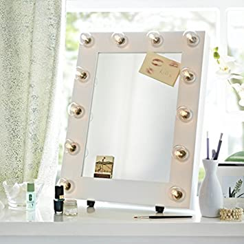 The Broadway White Satin Hollywood Theatre Illuminated Dimmable Make Up  Mirror Light Dressing Room Table Top