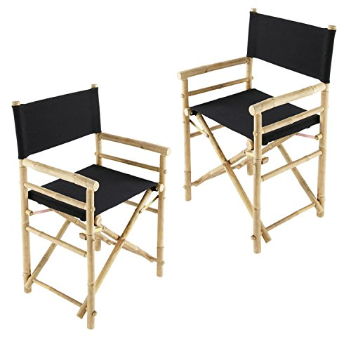 Zew Hand Crafted Foldable Bamboo Director's Chair with Treated Comfortable Canvas, Black, Folding Chairs Set of 2 - Folding Chair Set Of 2