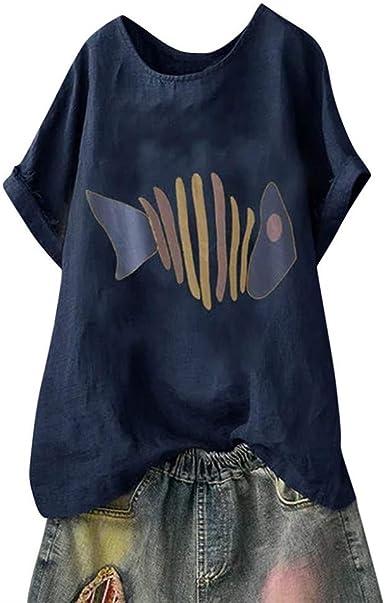 Camisetas Mujer Hueso de Pescado Impreso Manga Corta Tops algodón ...