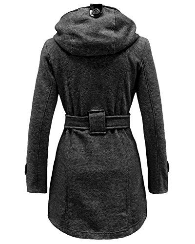 Parka Outwear Zhuikun Boutonné Manteau Capuche Femme Vestes Foncé Gris Longues À 4Tq48Y