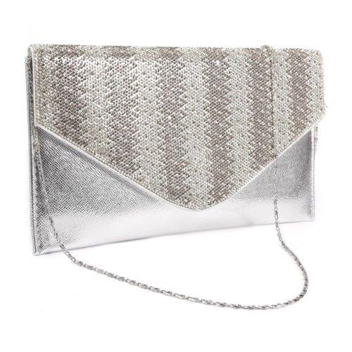 The Pecan Man Silver Zigzag Diamante Flat Womens Handbag Clutch (Thailand Store Kors Michael)