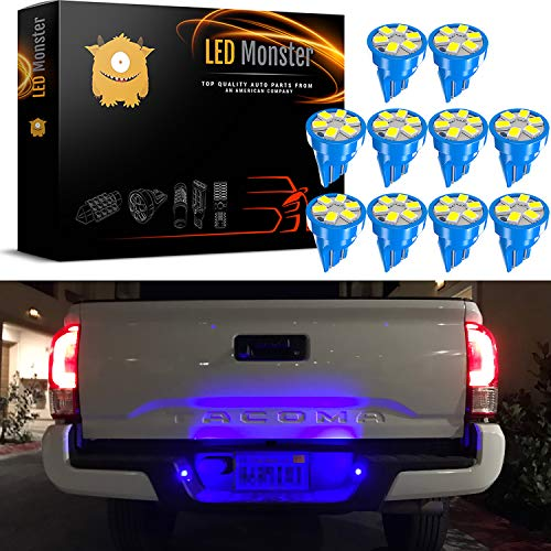 LED Monster 2x T10 194 Wedge Blue LED Lights Bulbs for License Plate Lamps License Frame Tag Number Plate (10) ()