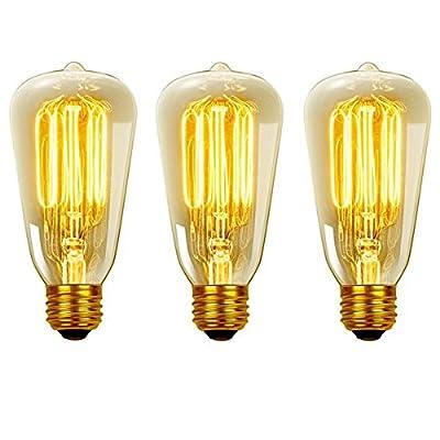 Globe Electric 40W Vintage Edison S60 Squirrel Cage Incandescent Filament Light Bulbs (3-Pack), E26 Base, Antique Edison, 31324