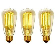 Globe Electric 40W Vintage Edison S60 Squirrel Cage Incandescent Filament Light Bulb, 3-Pack, E26 Base, 145 Lumens 31324