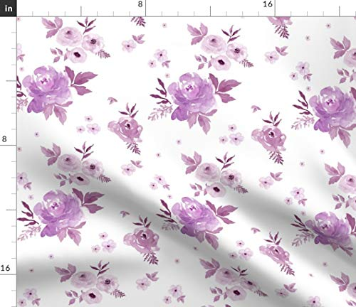 Cottage Chic Fabric - Cottage Chic Purple Roses Roses Floral Watercolor Flowers Blush Lingerie Cottage Chic by Shopcabin Printed on Petal Signature Cotton Fabric by The ()
