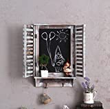 Tochange American Style Rustic Wall Mount Shelf,Do Old Wooden Fake Window Blackboard Wall Hanging Decoration Shabby Chic Message Board Wall Decoration For Cafe Bar Shop Ornament(631052cm)