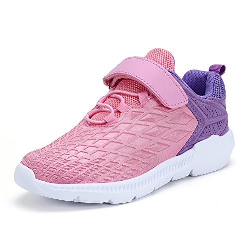AFFINEST Boys Girls Lightweight Sneakers Athletic Easy Walk Casual Sport Running Shoes for Kids(Pink,26) by AFFINEST (Image #1)