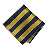 TieMart Navy Blue and Gold Striped Pocket Square