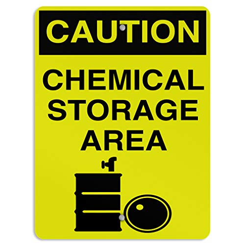 Caution Chemical Storage Area Style 3 Hazard Aluminum Weatherproof Metal Sign Vertical Street Signs ()