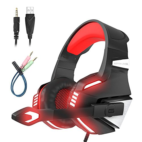 Mengshen Gaming Headset - with Microphone, Noise Isolation, Volume Control, LED Light - for PS4/Xbox One/Laptop/PC/Mac/iPad/Computer/Smartphones - G7500 Red by Mengshen