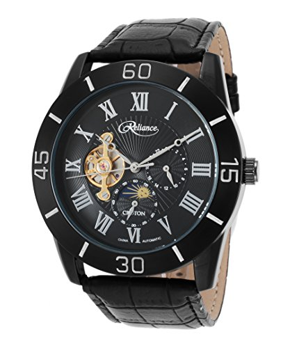 Croton Mens Reliance Automatic Multifunction Leather Watch (Black/Black)