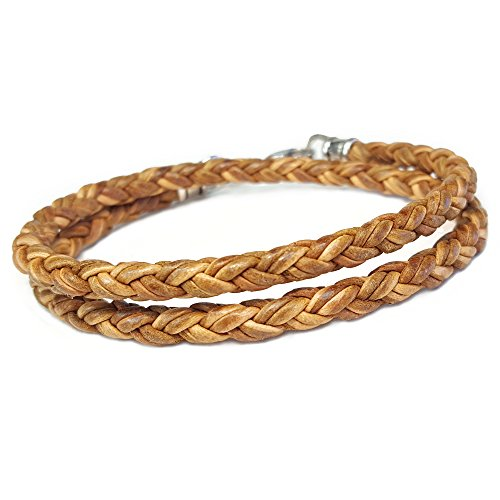 NATURAL TAN Braided Leather DOUBLE Wrap Bracelet 7