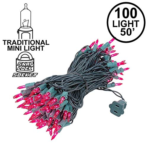 Novelty Lights 100 Light Pink Christmas Mini String Light Set, Green Wire, Indoor/Outdoor UL Listed, 50' ()