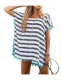 Laryana Womens Long Sleeve Embroidery Lace Crochet Knitwear Beach Dress