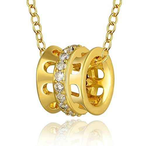 AmDxD Jewelry Gold Plated Women's Necklace White AAA Crystal Cylindrical Bead Hollow Design (Walmart Gold Necklace)