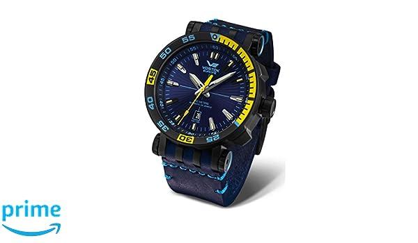 Amazon.com: Vostok-Europe Energia 2 NH35-575C280 Leather Blue Yellow Watch Pilot Automatic 49mm: Vostok-Europe: Watches
