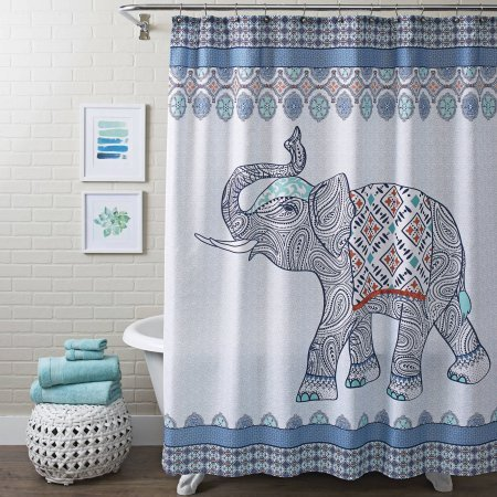 Better Homes and Gardens Global Elephant Shower Curtain, Multiple Colors