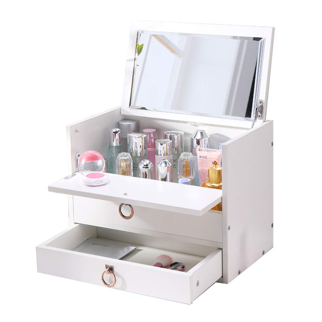 SNH-Box Cosmetic Organiser Wooden Two Tier Large Capacity Multi-Function Adjustable with Drawers Mirror Makeup Holder Round Pull Ring(White)