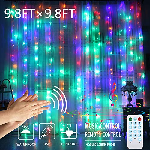 GYTF Color Changing Curtain Lights with Voice Activated, USB Powered 300 LED Fairy String Lights for Christmas Party Wedding Decorations,Remote Including Sync-to-Music Setting (9.8 x 9.8Ft) (Lights Curtain Led)