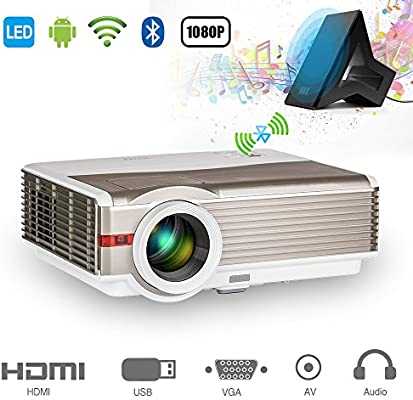EUG 5000 lumen Proyector de Android Bluetooth HD Proyector de video Cine en casa 200